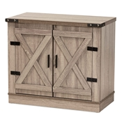 Baxton Studio Wayne Modern Contemporary Farmhouse Oak Brown Finished Wood 2-Door Shoe Storage Cabinet
