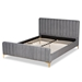 Baxton Studio Nami Modern Contemporary Glam and Luxe Light Grey Velvet Fabric Upholstered and Gold Finished Queen Size Platform Bed - IECF0374-Light Grey-Queen