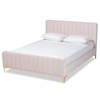 Baxton Studio Nami Modern Contemporary Glam and Luxe Light Pink Velvet Fabric Upholstered and Gold Finished Full Size Platform Bed