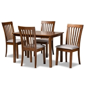 Baxton Studio Seda Modern and Contemporary Grey Fabric Upholstered and Walnut Brown Finished Wood 5-Piece Dining Set
