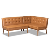 Baxton Studio Arvid Mid-Century Modern Tan Faux Leather Upholstered and Walnut Brown Finished Wood 2-Piece Dining Corner Sofa Bench