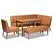 Baxton Studio Arvid Mid-Century Modern Tan Faux Leather Upholstered and Walnut Brown Finished Wood 5-Piece Dining Nook Set
