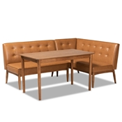 Baxton Studio Arvid Mid-Century Modern Tan Faux Leather Upholstered and Walnut Brown Finished Wood 3-Piece Dining Nook Set