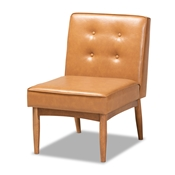 Baxton Studio Arvid Mid-Century Modern Tan Faux Leather Upholstered and Walnut Brown Finished Wood Dining Chair