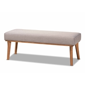 Baxton Studio Odessa Mid-Century Modern Grey Fabric Upholstered and Walnut Brown Finished Wood Dining Bench