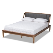 Baxton Studio Helsa Mid-Century Modern Dark Grey Fabric Upholstered and Walnut Finished Queen Size Platform Bed
