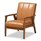 Baxton Studio Nikko Mid-century Modern Tan Faux Leather Upholstered and Walnut Brown finished Wood Lounge Chair