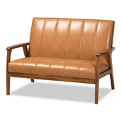 Baxton Studio Nikko Mid-century Modern Tan Faux Leather Upholstered and Walnut Brown finished Wood Loveseat