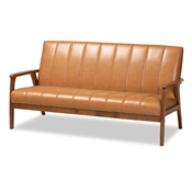 Baxton Studio Nikko Mid-century Modern Tan Faux Leather Upholstered and Walnut Brown finished Wood Sofa