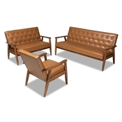 Baxton Studio Sorrento Mid-Century Modern Tan Faux Leather Upholstered and Walnut Brown Finished Wood 3-Piece Living Room Set