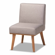 Baxton Studio Odessa Mid-Century Modern Grey Fabric Upholstered and Walnut Brown Finished Wood Dining Chair