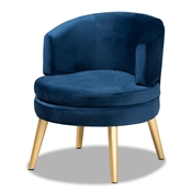 Baxton Studio Baptiste Glam and Luxe Navy Blue Velvet Fabric Upholstered and Gold Finished Wood Accent Chair
