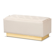 Baxton Studio Powell Glam and Luxe Beige Velvet Fabric Upholstered and Gold PU Leather Storage Ottoman