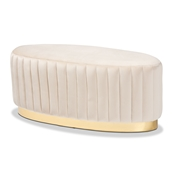 Baxton Studio Kirana Glam and Luxe Beige Velvet Fabric Upholstered and Gold PU Leather Ottoman