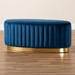 Baxton Studio Kirana Glam and Luxe Navy Blue Velvet Fabric Upholstered and Gold PU Leather Ottoman - IEWS-20352-Navy Blue Velvet/Gold-Otto