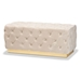 Baxton Studio Corrine Glam and Luxe Beige Velvet Fabric Upholstered and Gold PU Leather Ottoman