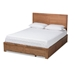 Baxton Studio Aras Modern and Contemporary Transitional Ash Walnut Brown Finished Wood Full Size 3-Drawer Platform Storage Bed