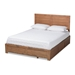 Baxton Studio Lisa Modern and Contemporary Transitional Ash Walnut Brown Finished Wood Full Size 3-Drawer Platform Storage Bed