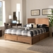 Baxton Studio Lisa Modern and Contemporary Transitional Ash Walnut Brown Finished Wood Full Size 3-Drawer Platform Storage Bed - IELisa-Ash Walnut-Full