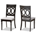 Baxton Studio Lucie Modern and Contemporary Grey Fabric Upholstered and Espresso Brown Finished Wood 2-Piece Dining Chair Set