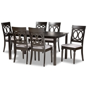 Baxton Studio Lucie Modern and Contemporary Grey Fabric Upholstered and Dark Brown Finished Wood 7-Piece Dining Set