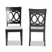Baxton Studio Lucie Modern and Contemporary Grey Fabric Upholstered and Espresso Brown Finished Wood 2-Piece Dining Chair Set - IERH333C-Grey/Dark Brown-DC-2PK