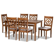 Baxton Studio Renaud Modern and Contemporary Grey Fabric Upholstered and Walnut Brown Finished Wood 7-Piece Dining Set