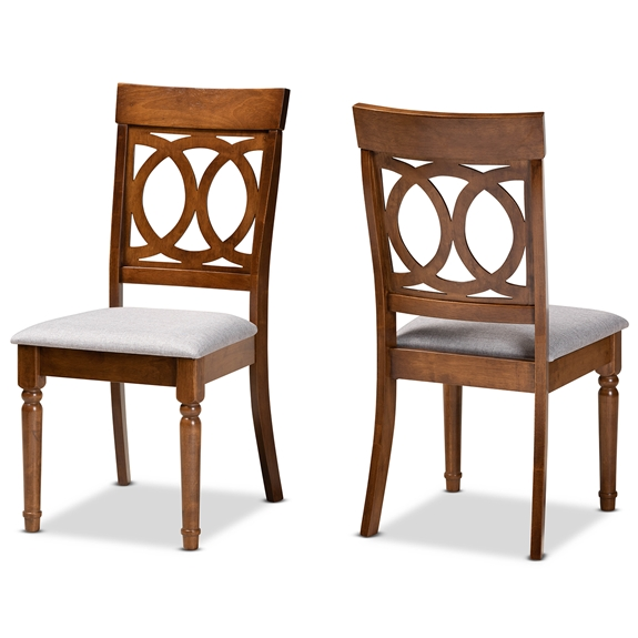 Baxton Studio Lucie Modern and Contemporary Grey Fabric Upholstered and Walnut Brown Finished Wood 2-Piece Dining Chair Set