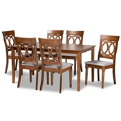 Baxton Studio Lucie Modern and Contemporary Grey Fabric Upholstered and Walnut Brown Finished Wood 7-Piece Dining Set