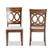 Baxton Studio Lucie Modern and Contemporary Grey Fabric Upholstered and Walnut Brown Finished Wood 2-Piece Dining Chair Set - IERH333C-Grey/Walnut-DC-2PK