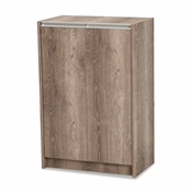 Baxton Studio Langston Modern and Contemporary Weathered Oak Finished Wood 2-Door Shoe Cabinet