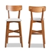 Baxton Studio Cameron Modern and Contemporary Transitional Grey Fabric Upholstered and Walnut Brown Finished Wood 2-Piece Bar Stool Set - IECozy-Grey/Walnut-BS