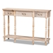 Baxton Studio Hallan Classic and Traditional French Provincial Rustic Whitewashed Oak Brown Finished Wood 3-Drawer Console Table