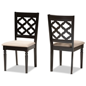 Baxton Studio Ramiro Modern and Contemporary Sand Fabric Upholstered and Dark Brown Finished Wood 2-Piece Dining Chair Set