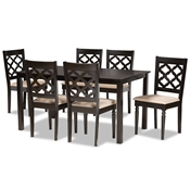 Baxton Studio Ramiro Modern and Contemporary Sand Fabric Upholstered and Dark Brown Finished Wood 7-Piece Dining Set