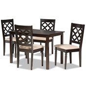 Baxton Studio Ramiro Modern and Contemporary Sand Fabric Upholstered and Dark Brown Finished Wood 5-Piece Dining Set