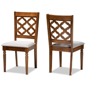 Baxton Studio Ramiro Modern and Contemporary Grey Fabric Upholstered and Walnut Brown Finished Wood 2-Piece Dining Chair Set