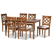 Baxton Studio Ramiro Modern and Contemporary Grey Fabric Upholstered and Walnut Brown Finished Wood 7-Piece Dining Set