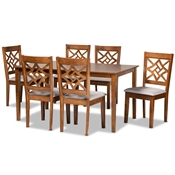 Baxton Studio Nicolette Modern and Contemporary Grey Fabric Upholstered and Walnut Brown Finished Wood 7-Piece Dining Set