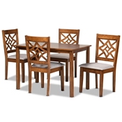 Baxton Studio Nicolette Modern and Contemporary Grey Fabric Upholstered and Walnut Brown Finished Wood 5-Piece Dining Set