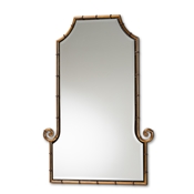 Baxton Studio Layan Glamourous Hollywood Regency Style Gold Finished Metal Bamboo Inspired Accent Wall Mirror