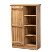 Baxton Studio Eren Modern and Contemporary Farmhouse Natural Oak Brown Finished Wood 1-Door Shoe Cabinet