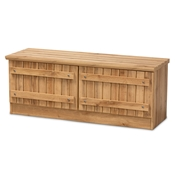 Baxton Studio Oswald Modern and Contemporary Farmhouse Natural Oak Brown Finished Wood 2-Door Storage Bench