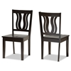 Baxton Studio Fenton Modern and Contemporary Transitional Dark Brown Finished Wood 2-Piece Dining Chair Set