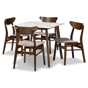 Baxton Studio Paras Mid-Century Modern Transitional Light Beige Fabric Upholstered and Walnut Brown Finished Wood 5-Piece Dining Set with Faux Marble Dining Table