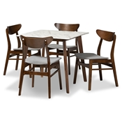 Baxton Studio Paras Mid-Century Modern Transitional Light Grey Fabric Upholstered and Walnut Brown Finished Wood 5-Piece Dining Set with Faux Marble Dining Table