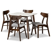 Baxton Studio Pearson Mid-Century Modern Transitional Light Grey Fabric Upholstered and Walnut Brown Finished Wood 5-Piece Dining Set with Faux Marble Table