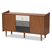 Baxton Studio Halden Mid-Century Modern Multicolor Walnut Brown and Grey Gradient Finished Wood 2-Door Dining Room Sideboard Buffet
