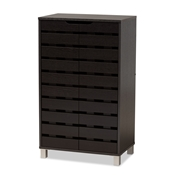 Baxton Studio Ernest Modern and Contemporary Dark Brown Finished Wood 2-Door Shoe Storage Cabinet