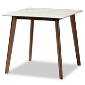 Baxton Studio Kaylee Mid-Century Modern Transitional Walnut Brown Finished Wood Dining Table with Faux Marble Tabletop